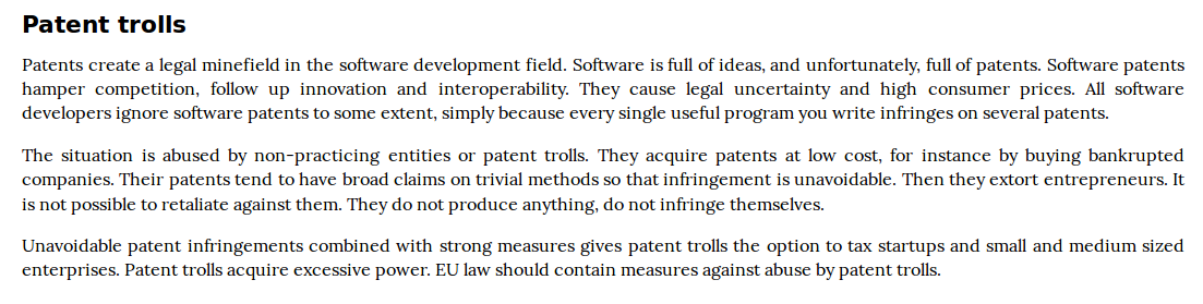 Patents trolls